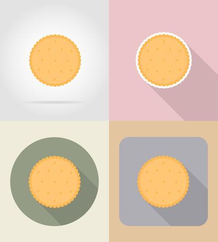 illustrazione piana di vettore delle icone del cibo e degli oggetti del biscotto del biscotto