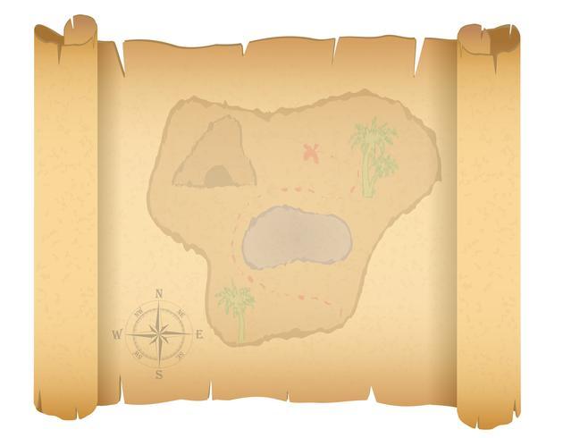 Ilustración de vector de mapa de tesoro pirata
