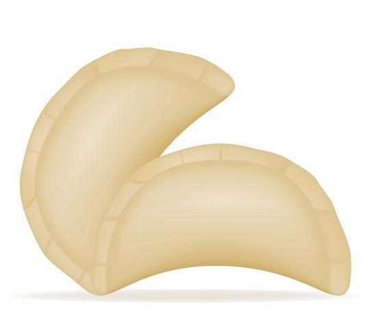 Mehlklöße Vareniki des Teigs mit einer füllenden Vektorillustration