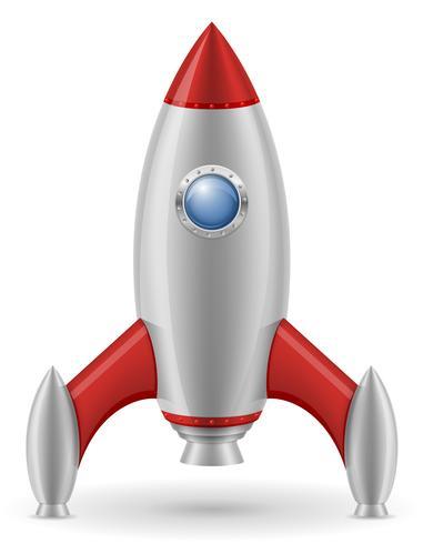 Retro Raumschiff-Vektorillustration der Weltraumrakete