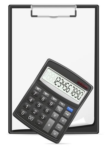rekenmachine klembord en lege vel papier concept vectorillustratie