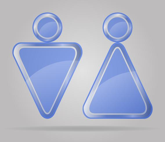 sinal transparente homem e mulheres toaletes vector illustration