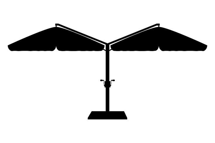 grande guarda-sol para bares e cafés no terraço ou a ilustração em vetor silhueta contorno preto praia