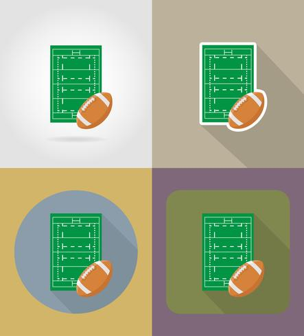 field for rugby flat icons vector illustration