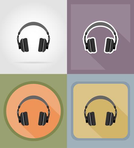 akustiska hörlurar platt ikoner vektor illustration