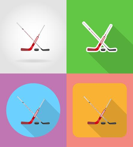 hockey plat pictogrammen vector illustratie
