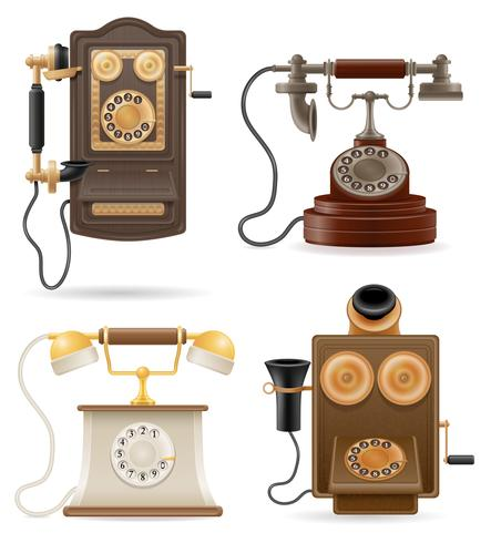 telefone antigo retrô set ícones ilustração vetorial de estoque