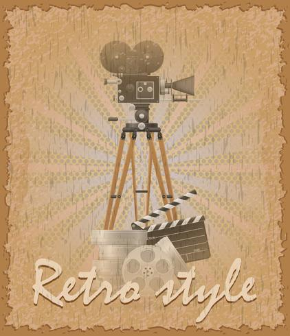 retro style poster old movie camera vector illustration
