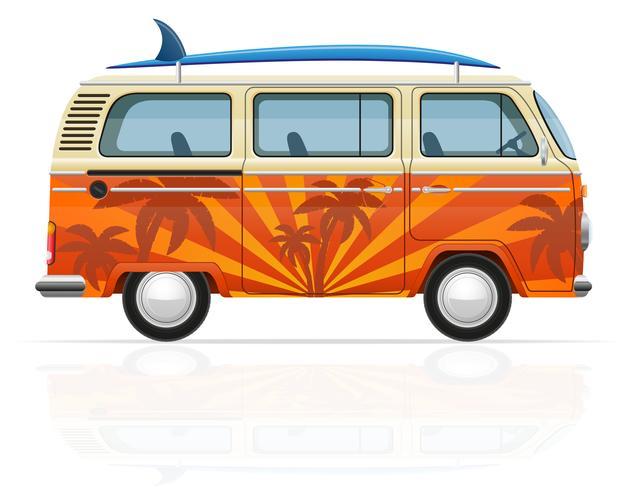 minivan retrò con un'illustrazione vettoriale di tavola da surf