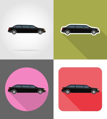 Ilustración de vector de iconos plana de coche limusina