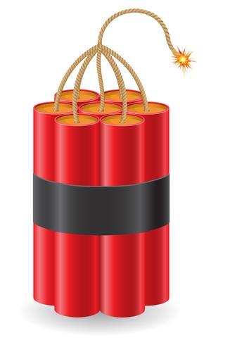 dinamite esplosiva con un'illustrazione vettoriale di bruciare miccia