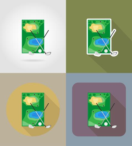 campo para los iconos planos de golf vector illustration