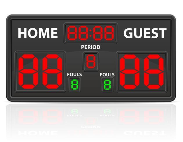 Ilustración de vector de marcador digital de baloncesto deportes