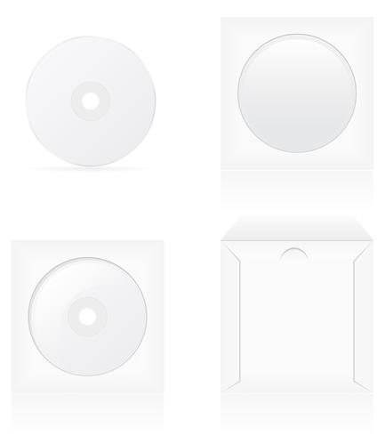 uppsättning av vit tom cd-skiva och omslag vektor illustration