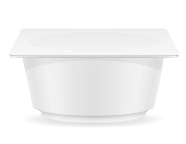 contenitore di plastica bianco di illustrazione vettoriale yogurt