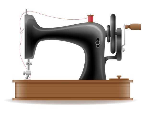 Máquina de coser antigua retro vintage icono stock vector ilustración
