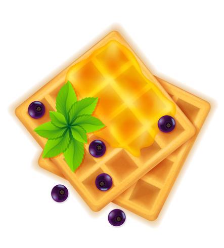 waffle belga com sobremesa doce de mel para ilustração vetorial de café da manhã