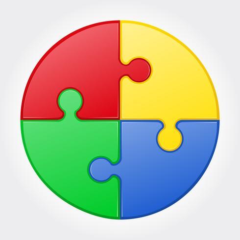 ilustração vetorial de quebra-cabeça redonda