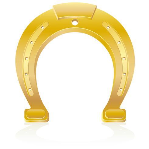 gold horseshoe talisman charm vector illustration
