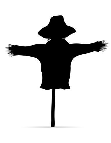 Ilustración de vector de silueta de espantapájaros negro