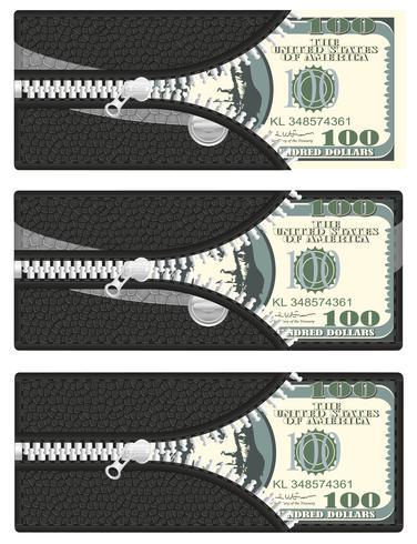 ett hundra dollar i din plånbok med öppen dragkedja