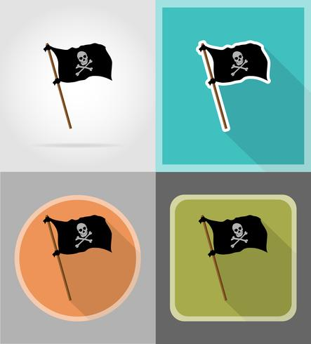 Bandera pirata iconos planos vector illustration
