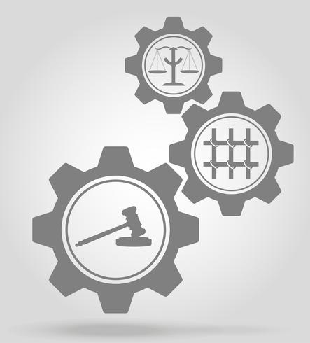 illustrazione di vettore di concetto di meccanismo di ingranaggio della giustizia