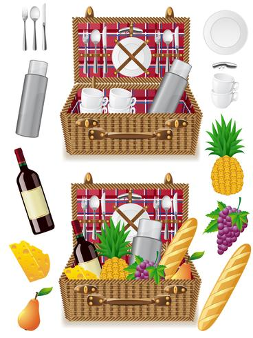 Cesta para un picnic con vajilla y alimentos.
