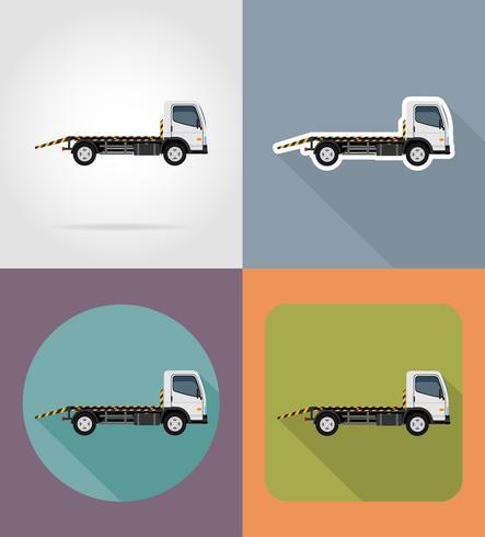 il camion di rimorchio per le icone piane di errori di trasporto e le icone piane delle automobili di emergenza vector l'illustrazione