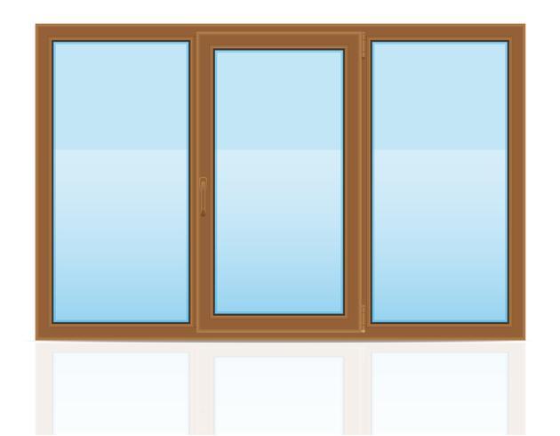 brun plast transparent fönster utsikt inomhus vektor illustration