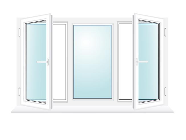illustrazione di vettore di finestra di vetro aperto di plastica