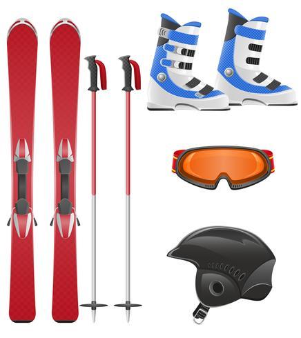 illustration vectorielle de jeu d'icônes de matériel de ski