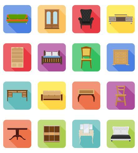 ensemble de meubles icônes plates illustration vectorielle