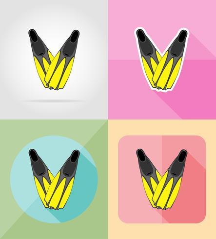 aletas para buceo iconos planos vector illustration