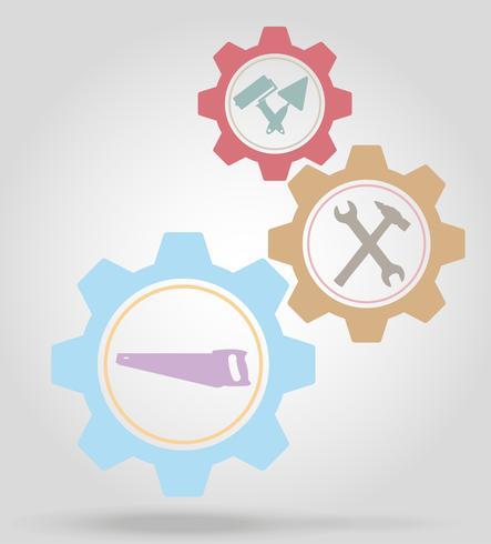 Herramientas para la reparación o la construcción de engranajes mecanismo concepto vector ilustración