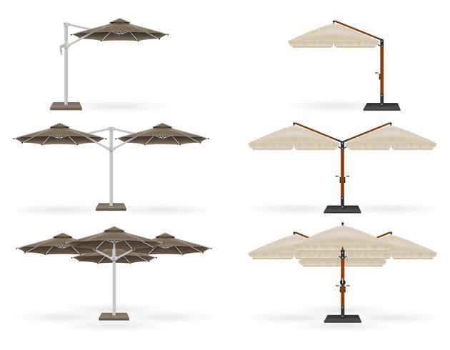 großer Sonnenschirm für Bars und Cafés auf der Terrasse oder der Strandvektorillustration