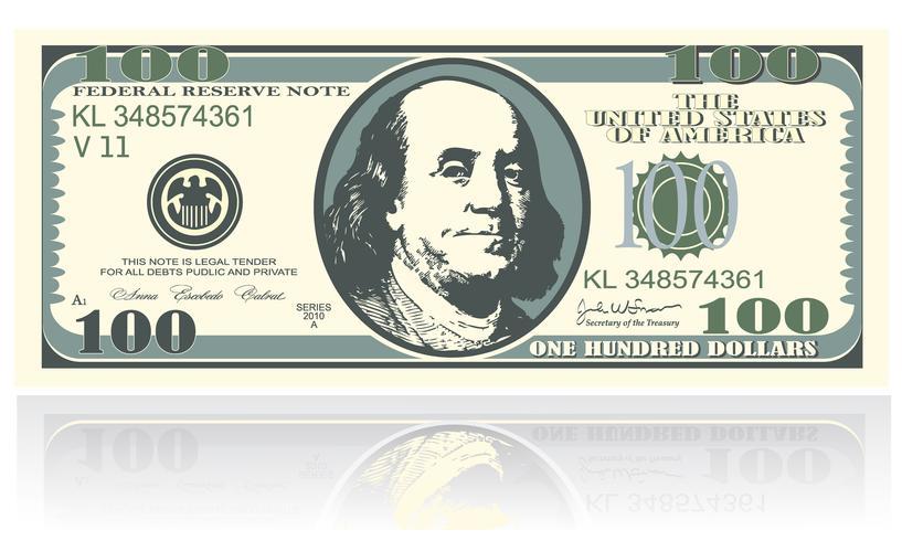 Eine Notiz ist einhundert Dollar