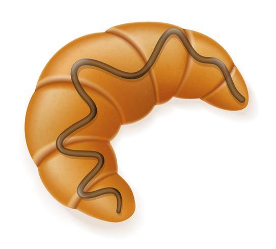 krispig croissant drizzled med choklad vektor illustration