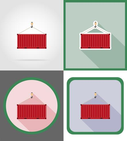 cargo container delivery flat icons vector illustration