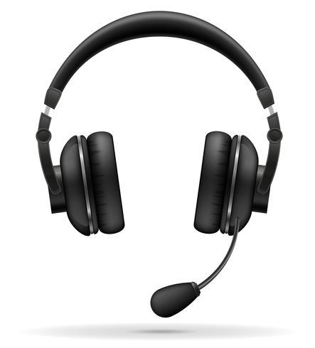 Auriculares acústicos con ilustración vectorial de micrófono