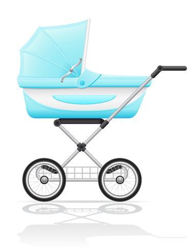 babys perambulator blue vector illustration