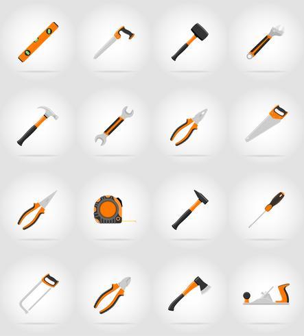 Reparación y construcción de herramientas planas iconos vector illustration