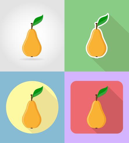 Frutas pera planas iconos con la ilustración de vector de sombra