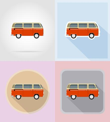 retro minivan platt ikoner vektor illustration