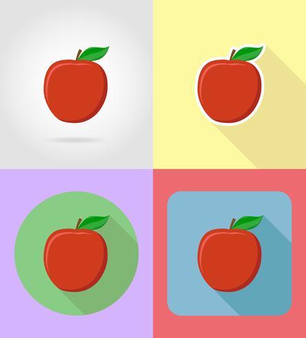 Apple frutas planas iconos conjunto con la ilustración de vector de sombra