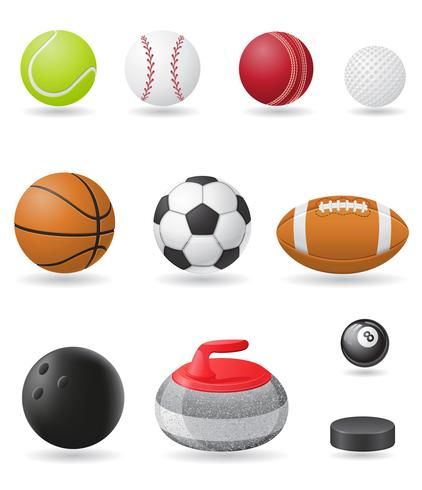 Set Icons Sportbälle Vektor-Illustration