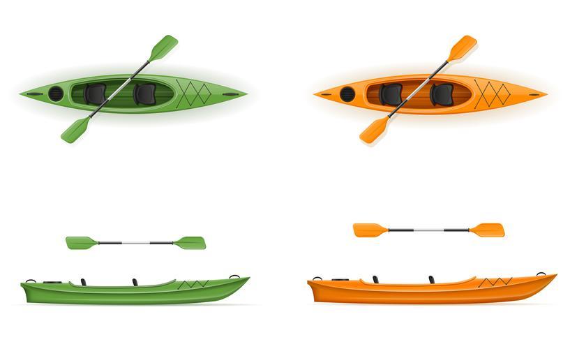 Plastikkajak für die Fischerei und Tourismusvektorillustration vektor