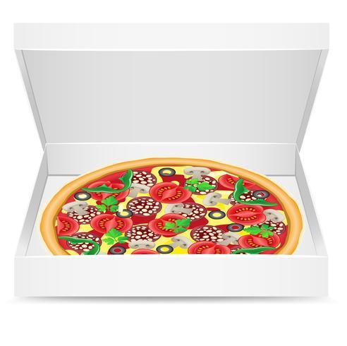 pizza está em uma caixa de papelão vetor