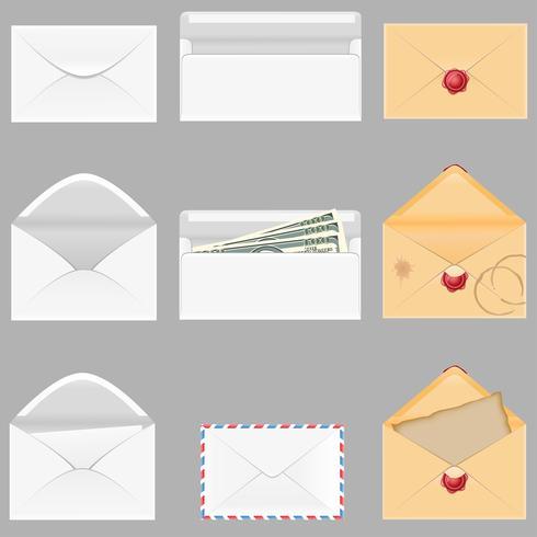 définir des icônes papier enveloppes vector illustration