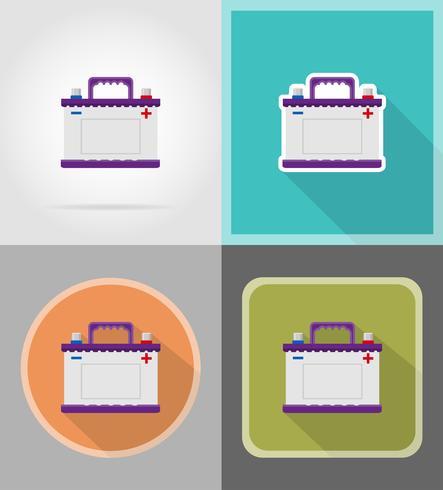 car battery flat icons vector illustration